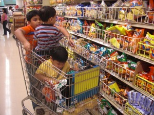 The boys shopping for snacks.